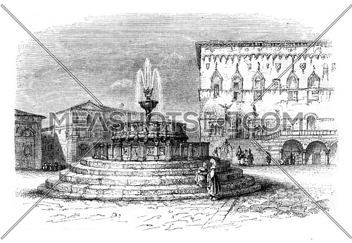 The main square of Perugia, a city of the ecclesiastical state, vintage engraved illustration. Magasin Pittoresque 1845.