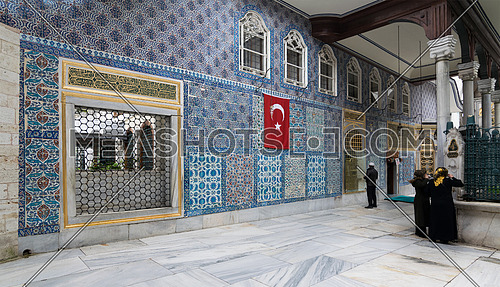 Istanbul, Turkey - April 24, 2017: Exterior view of the shrine of Hazrat Abu Ayub Ansari, Eyup Sultan Mosque