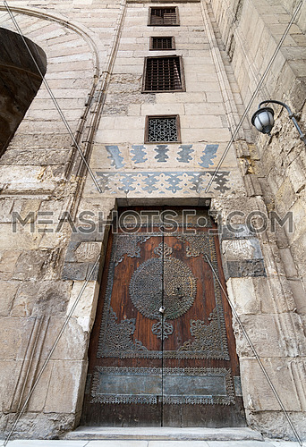 One of the doors of Al-Sultan Al-Zahir Barquq mosque. Al-Moez Street, Old Cairo, Egypt