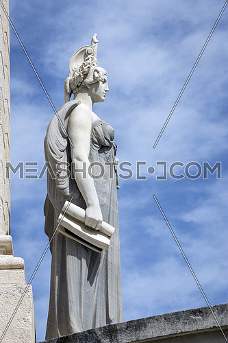 Cadiz Spain- April 1: Memorial of Spain which commemorates the centenary of the Constitution of 1812, Decorative detail made in stone, take in Cadiz, Andalusia, Spain