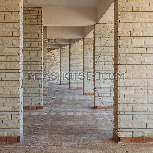 Background of row of sequential stone brick walls