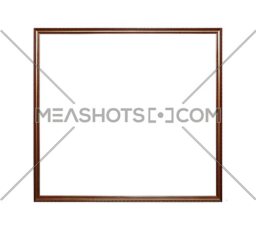 Antique old baroque ornate wooden classic golden painted square frame for picture, photo or mirror, isolated on white background, close up