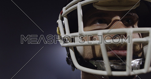 Closeup Portrait Of Young Male American Football Player