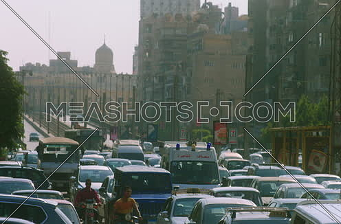 Long shot for a Traffic Jam in Cairo Downtown at noon