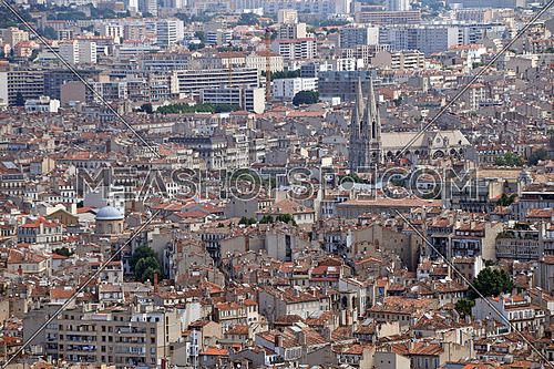 Panoramic city view of Marseille, France, cloudy sunny day, high angle