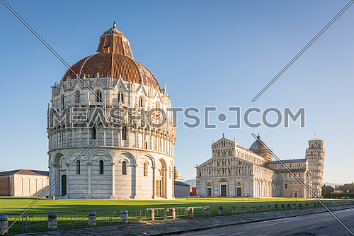 Pisa Baptistery, the Pisa Cathedral and the Tower of Pisa,Unesco world heritage site. They are located in the Piazza dei Miracoli (Square of Miracles) in Pisa, Italy.
