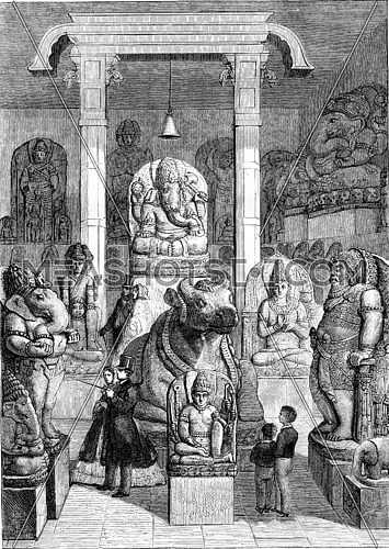Leiden museum hall of the ancient monuments, vintage engraved illustration. Magasin Pittoresque 1861.