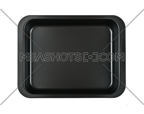 Close up one rectangular black nonstick tin baking mold case isolated on white background, elevated top view, directly above