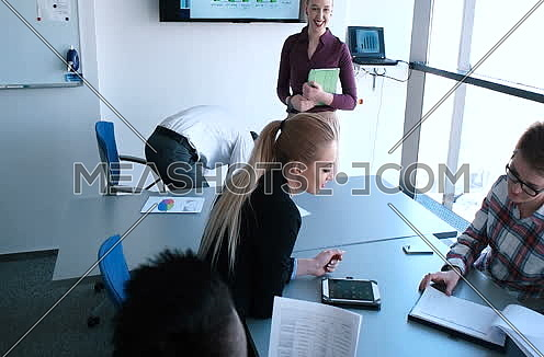 Business team making plans for future clients in modern office