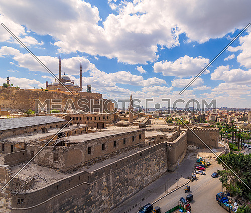 Day shot of Great Mosque of Muhammad Ali Pasha, located in the Citadel of Cairo in Egypt, commissioned by Muhammad Ali Pasha, one of the landmarks and tourist attractions of Cairo