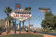 Visitors cross street to see Las Vegas sign