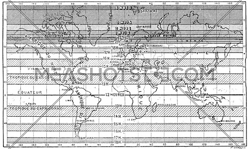 Map of the longest days of summer for different latitudes,  vintage engraved illustration. Dictionary of words and things - Larive and Fleury - 1895.