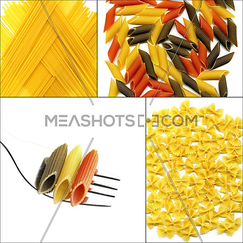 various type of Italian pasta collage on a square frame