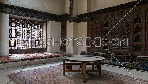 Room at El Sehemy house with an interleaved wooden window (Mashrabiya) and embedded cupboard, an old Ottoman era house in Cairo, built in 1648.