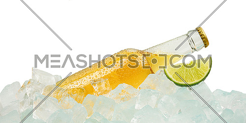 Close up one clear glass bottle of cold lager beer on ice cubes at retail display isolated on white background, low angle side view