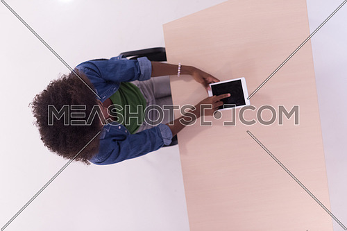 Top View Of young african american informal Businesswoman Working At Computer In Office