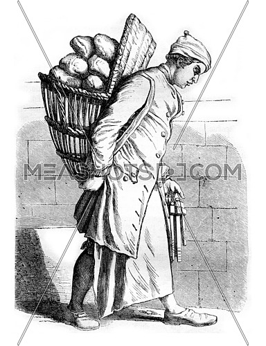 A Baker in the eighteenth century, vintage engraved illustration. Magasin Pittoresque 1857.