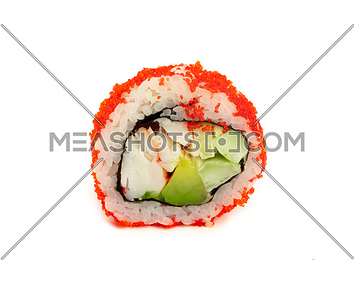 Close up one Boston or California sushi roll with red tobiko caviar isolated on white background, low angle side view