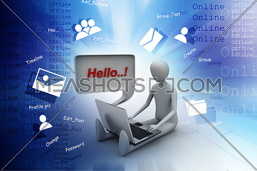 3d person chatting with  laptop