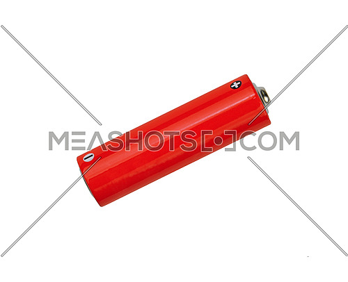 Close up one blank vivid red alkaline AA battery with copy space isolated on white background