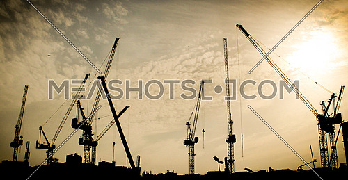 Tower cranes silhouette in golden sky