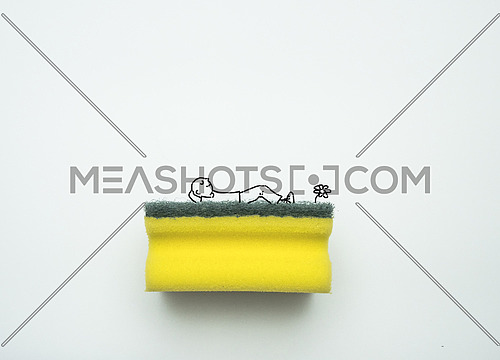 Conceptual image of a man resting on garden