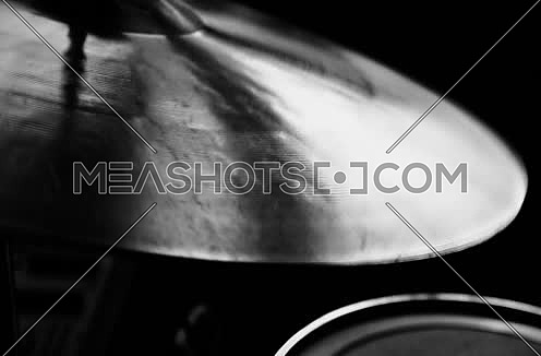 Drum Cymbal being played in black and white