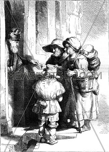 Facsimile of a strong water etching by Rembrandt, vintage engraved illustration. Magasin Pittoresque 1847.