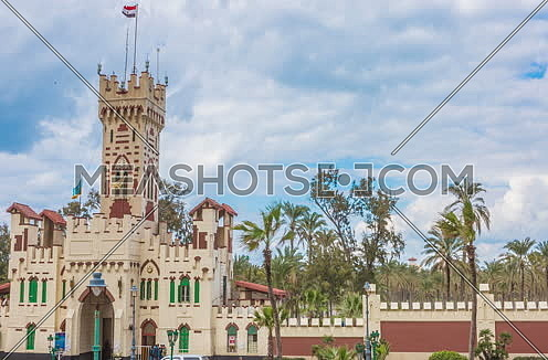 Tracl right Long shot for Montazah Palace Gate at Alexandria at Day