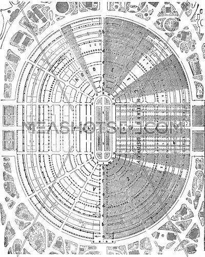 Plan of the palace of the 1867 exhibition at the Champ de Mars in Paris, vintage engraved illustration. Industrial encyclopedia E.-O. Lami - 1875.