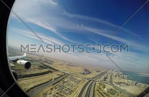 Etihad airways airplane during take off passenger view