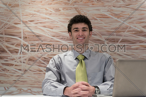 happy young business man  working on laptop computer at his desk in modern startup office interior