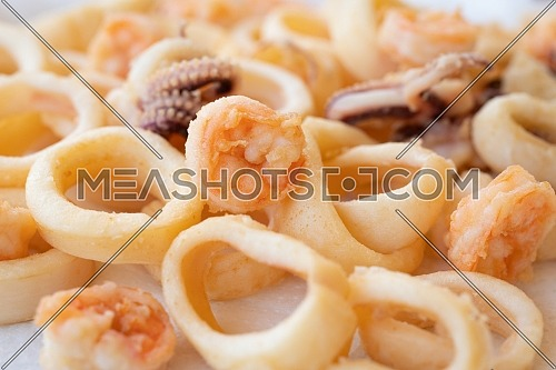 fried squids or octopus (calamari) and prawns, isolated on white background