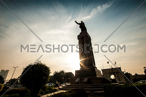 Low angel Shot for Saad Zaghloul Statue at Cairo at Sunset