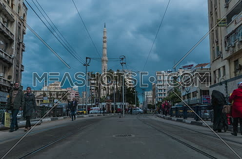 Fixed shot for Al Qaaed Ibrahim Basha Mousque showing traffic and trams