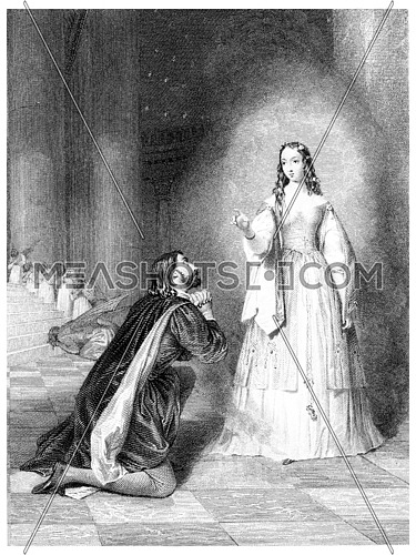 The unearthly Visitant, vintage engraved illustration.