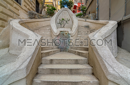 Kamondo Stairs, a famous pedestrian stairway leading to Galata Tower, built around 1870, located on Banks Street in Galata (Karakoy) district of Istanbul, Turkey