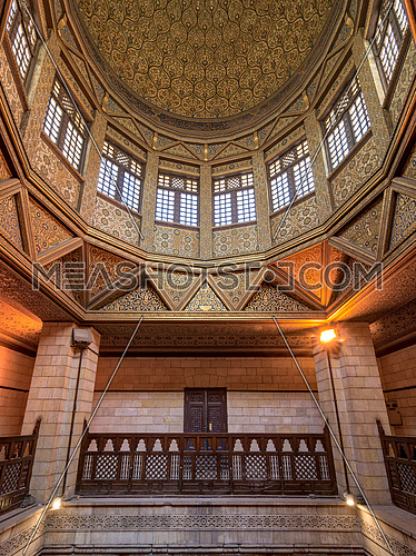 Interior shot of the dome of Nilometer building, an ancient Egyptian water measurement device dates from 715 AD, used to measure the level of river Nile, located in Rhoda Island, River Nile, Cairo, Egypt
