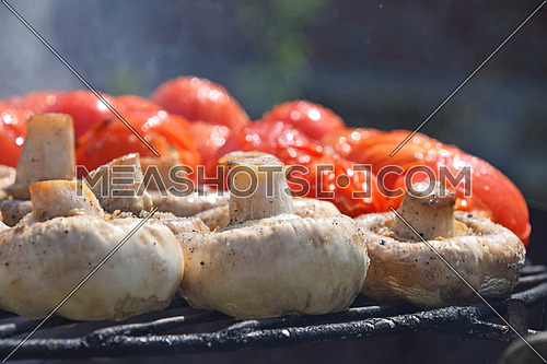 Vegetables in salt and spices being cooked on char grill outside, white champignons portobello mushrooms and red small tomatoes, close up, low angle view