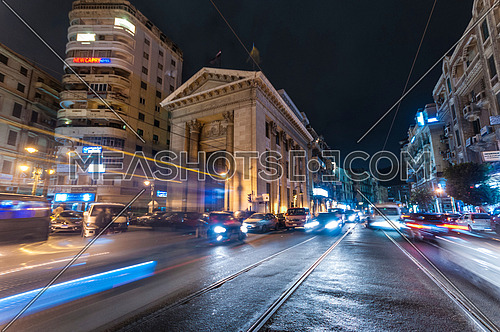 Long Low angel shot for Stock Market Bulding in Alexandria at night