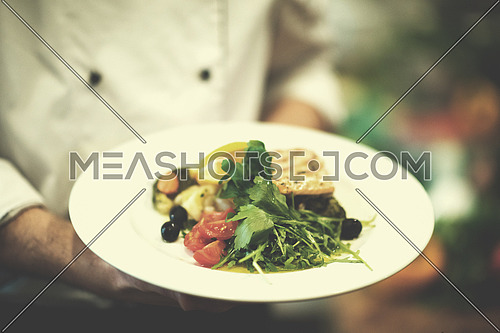 Chef hands holding fried Salmon fish fillet with vegetables for dinner in a restaurant kitchen
