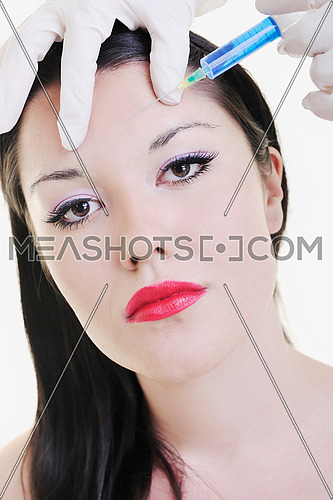 woman skincare and health concept with botox injection