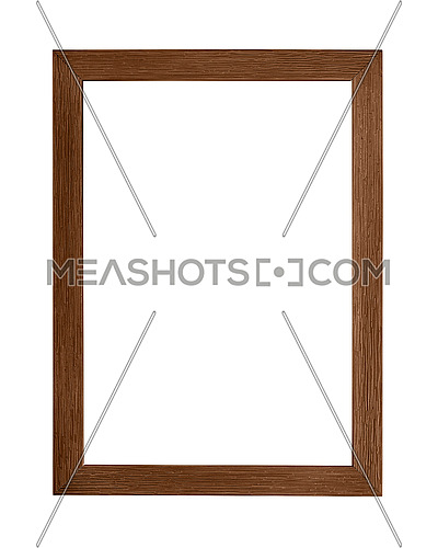 Modern dark brown color painted rectangular vertical frame for picture or photo, isolated on white background
