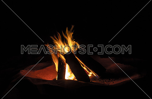 wood fire in the desert at night