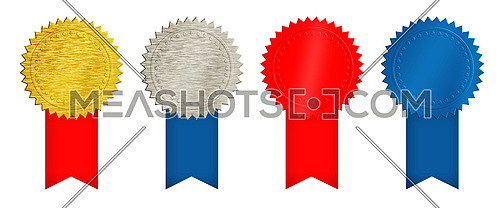 Set of four seal stamps, achievement and award badges (brushed metal gold, silver, blue and red) with ribbons isolated on white background