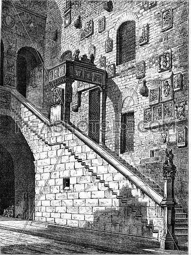 Courtyard of the National Museum of Florence, vintage engraved illustration. Magasin Pittoresque 1876.