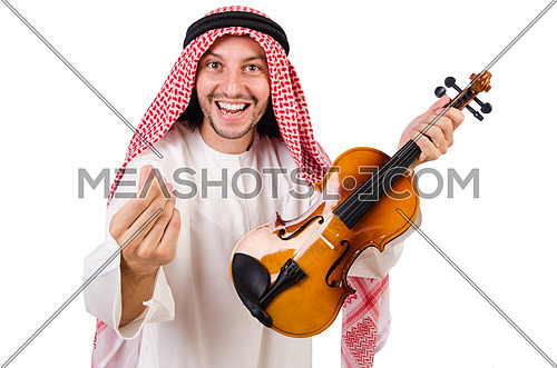 Arab man playing violing on white