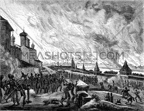 15-16-17 September 1812 Fire of Moscow, vintage engraved illustration. Magasin Pittoresque (1882).