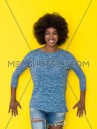 portrait of a beautiful friendly African American woman with a curly afro hairstyle and lovely smile isolated on a Yellow background