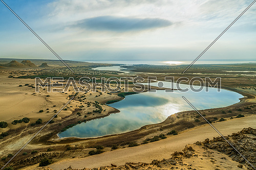 The Magic Lake in the morning. Breathtaking view in Wadi Al Rayan in Fayoum, Egypt.